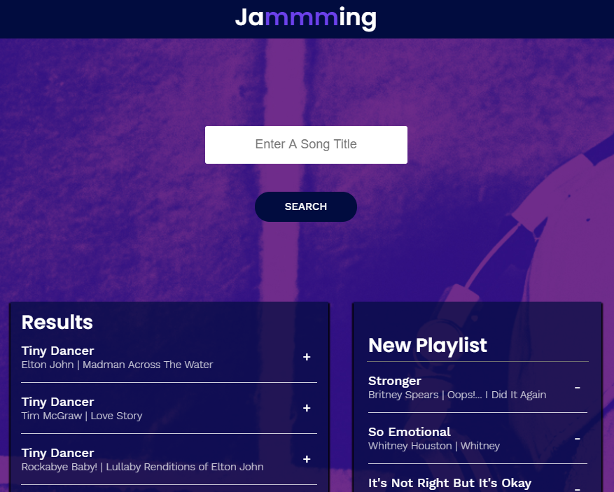 Jammming screenshot