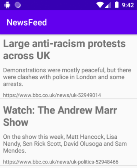 News app screenshot